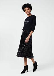 Claudette Sequin Skirt, Black, hi-res