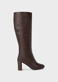 Anastasia Leather Knee High Boots, Dark Brown, hi-res