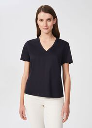 Charlotte Cotton T-Shirt, Navy, hi-res