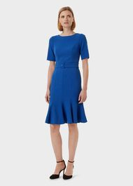 Bria Belted Dress, Cobalt, hi-res