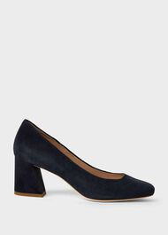 Laura Suede Block Heel Court Shoes, Navy, hi-res