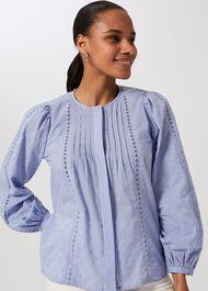 Joella Embroidered Top, Blue, hi-res