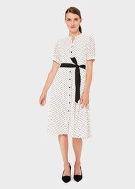 Eliza Crepe Spot Shirt Dress, Ivory Black, hi-res