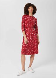 Fara Jersey Mid Length Dress, Berry Red Multi, hi-res