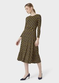 Bayview Midi Dress, Navy Chartreuse, hi-res