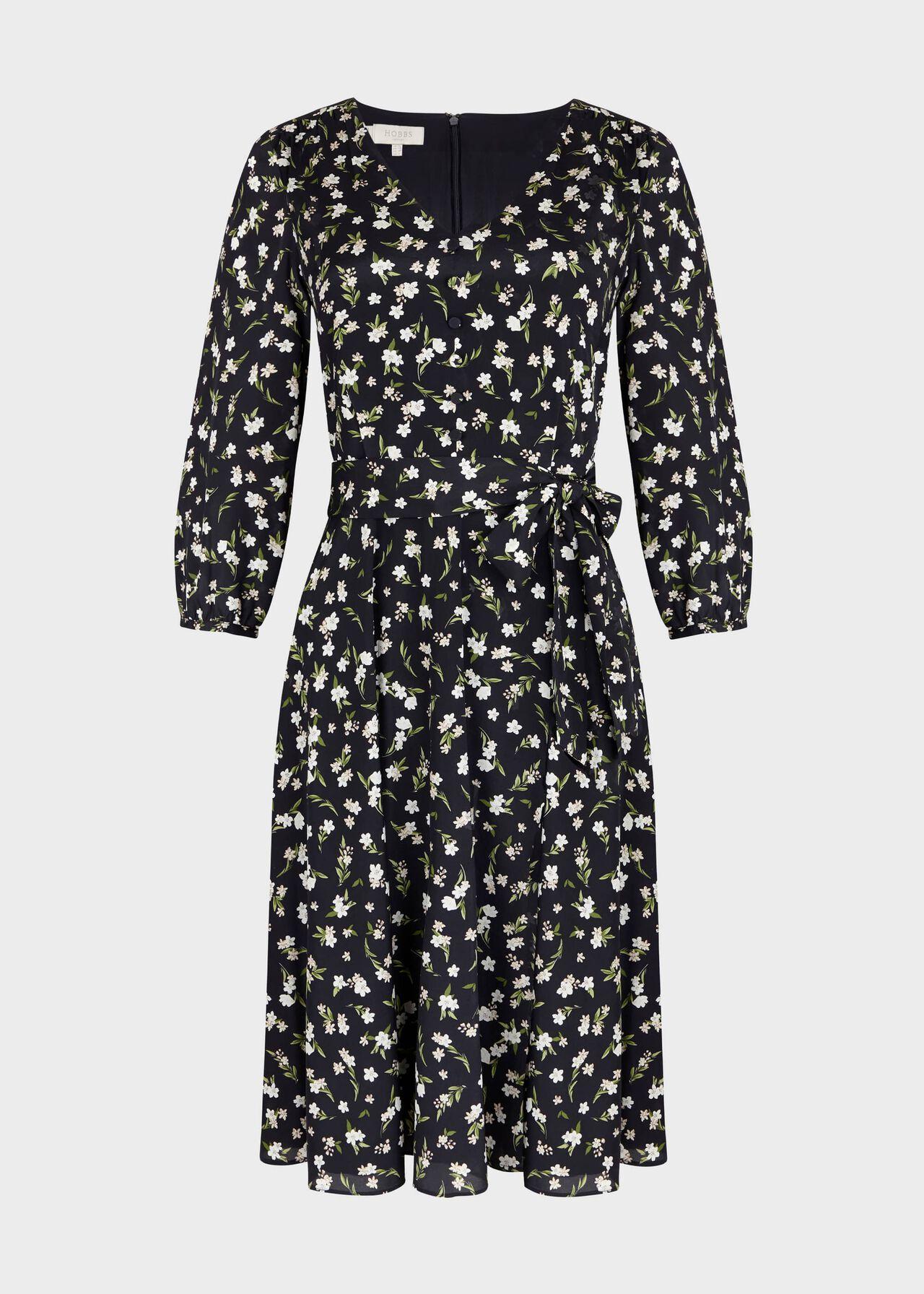 Elena Silk Blend Floral V Neck Dress Navy Ivory