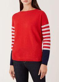 Stripe Sofia Wool Cashmere Sweater, Red Multi, hi-res