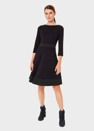 3/4 Sleeve Seasalter Dress, Navy Green, hi-res