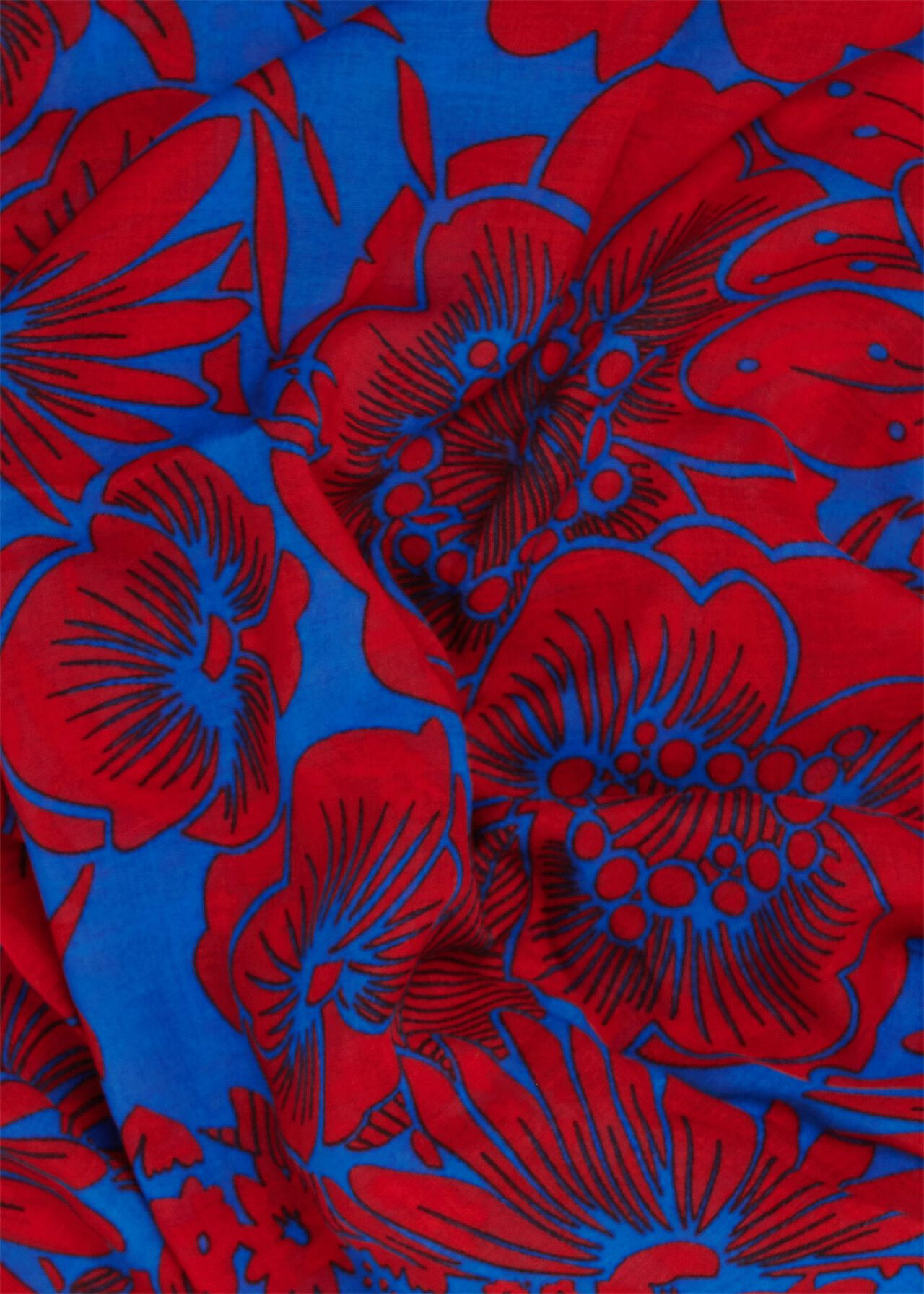 Eleanor Printed Scarf, Blue Red, hi-res