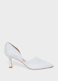 Maya Suede Stiletto D'Orsay Court Shoes, Celeste Blue, hi-res