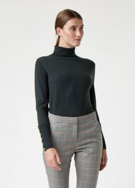 Lara Merino Wool Rib Roll Neck, Khaki, hi-res