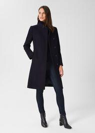 Maisie Wool Blend Coat, Navy, hi-res