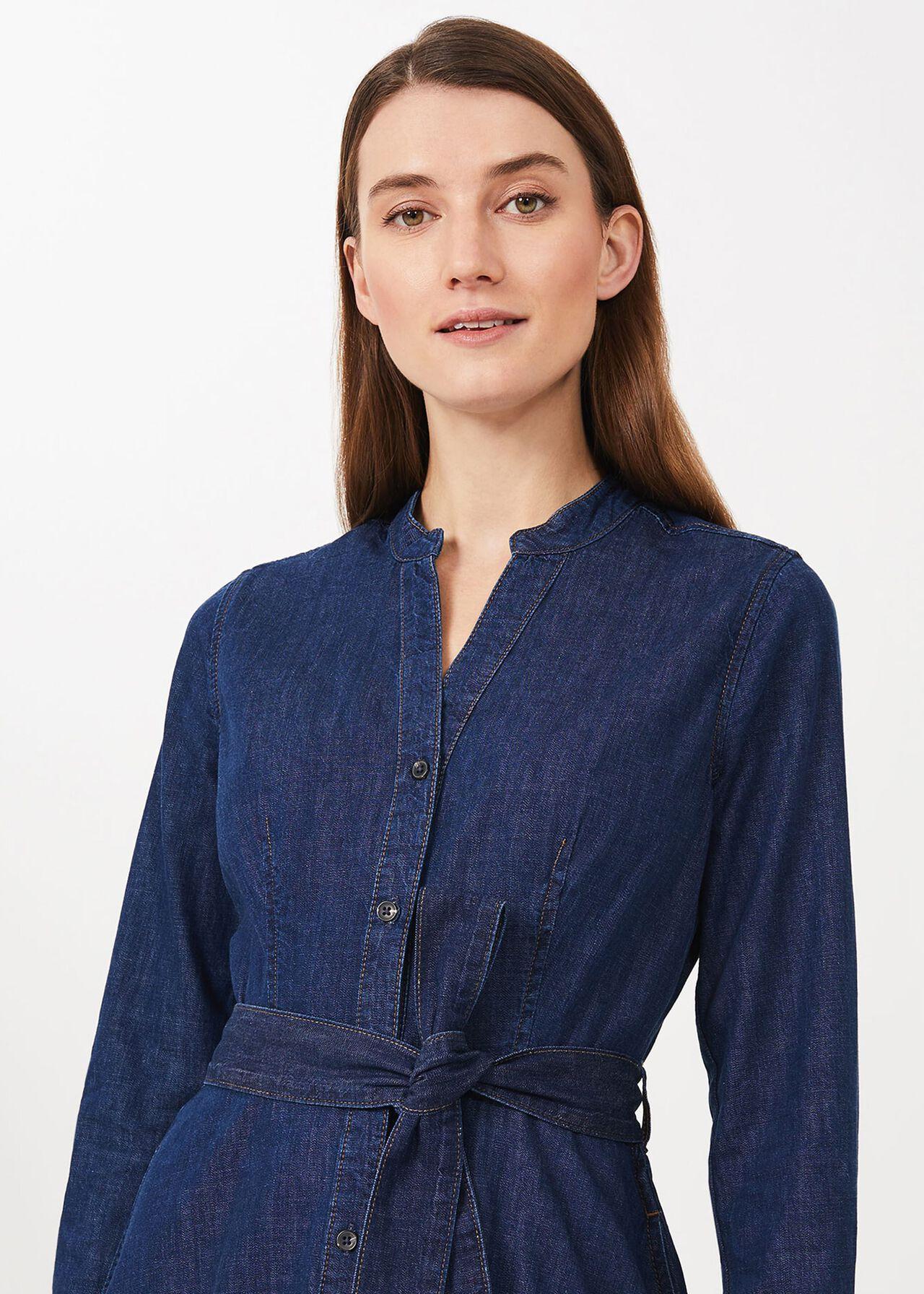 Taylor Denim Dress, Blue, hi-res