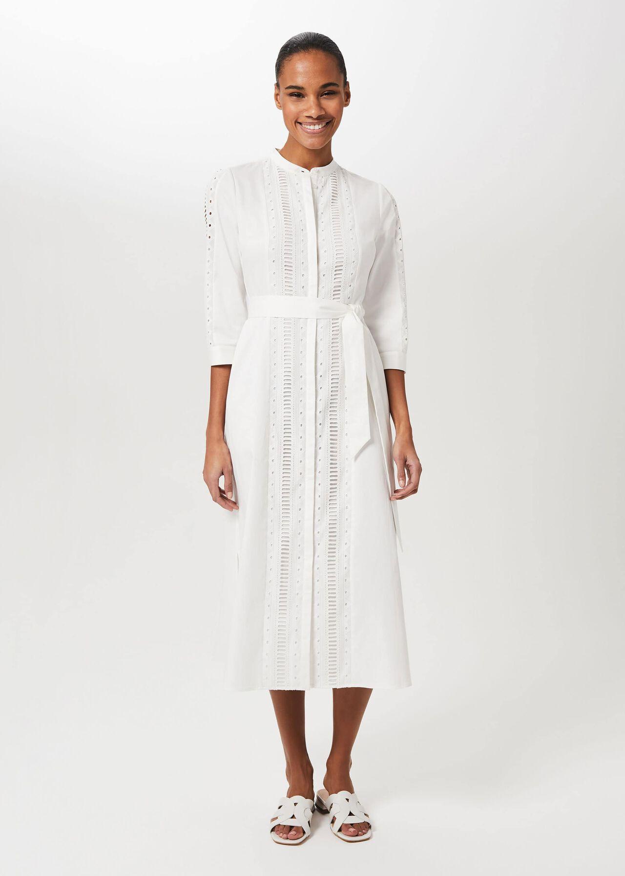 Diana Broderie Midi Dress, Ivory, hi-res