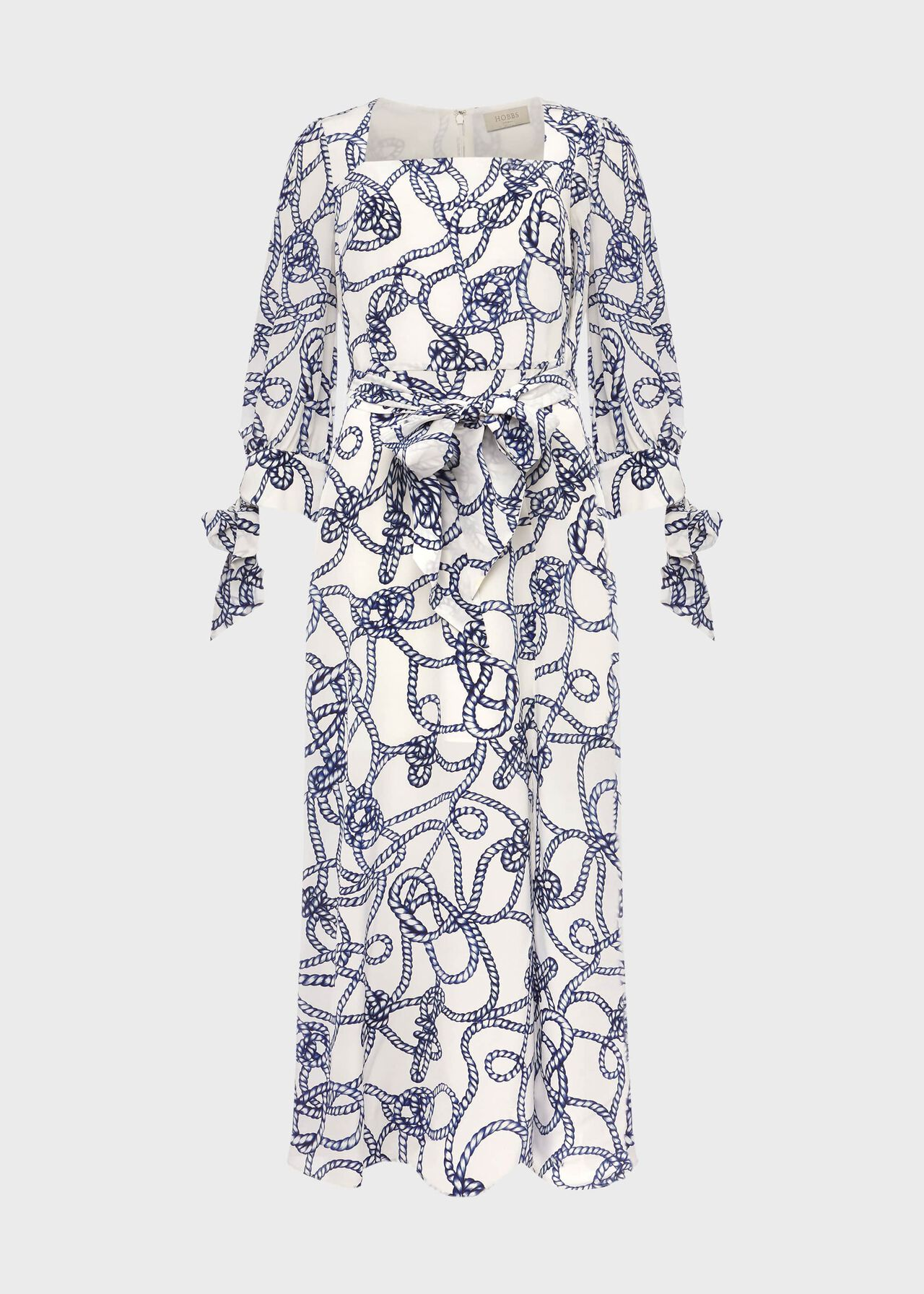 Kasia Silk Dress Ivory Blue