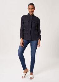 Nessa Linen Blend Jacket, Navy, hi-res