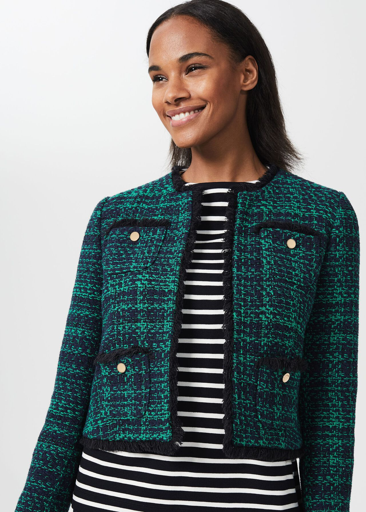 Rosa Tweed Jacket , Navy Apple Grn, hi-res