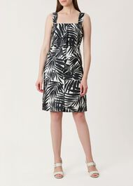 Harley Linen Dress, Black White, hi-res