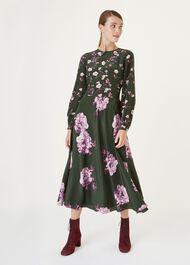 Silk Winter Rose Dress, Green Pink, hi-res
