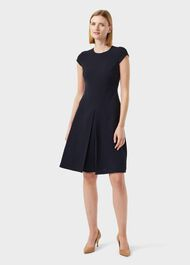 Henna Fit And Flare Dress, Navy, hi-res