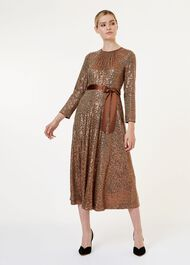 Salma Sequin Fit And Flare Dress, Copper, hi-res