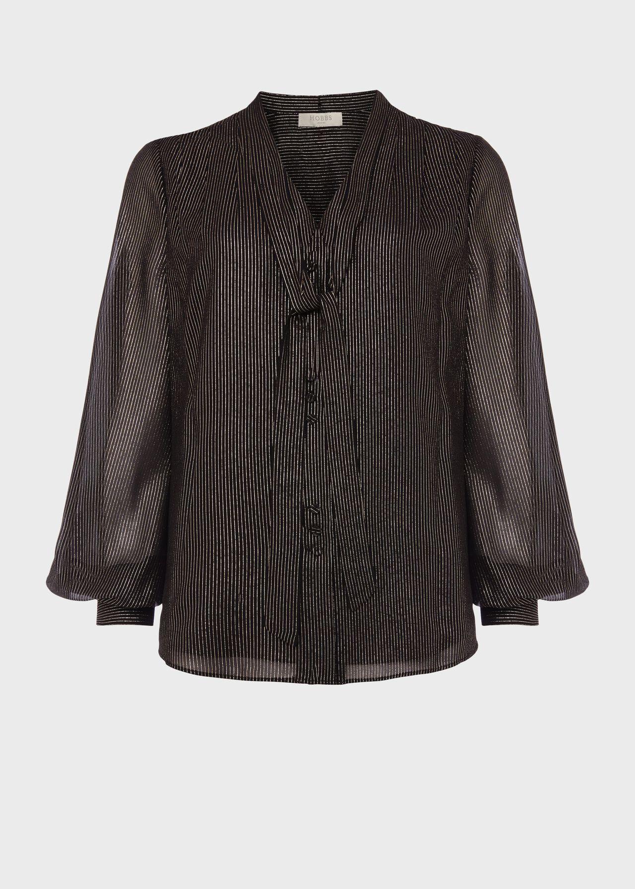 Wren Stripe Blouse Black Gold