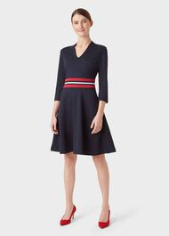 V Neck Seasalter Dress, Navy, hi-res
