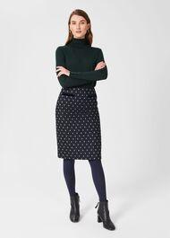 Tessa Wool Skirt, Navy Green, hi-res