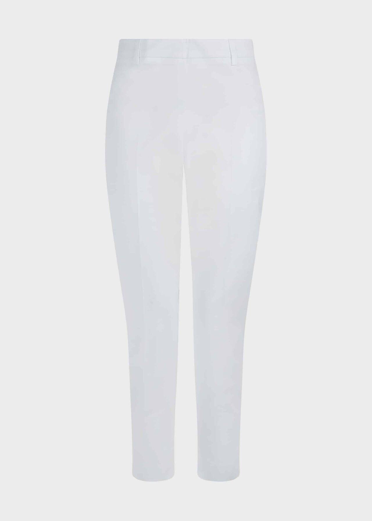Mallory Cotton Blend Capri Trousers, White, hi-res