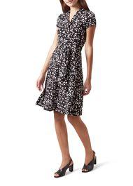 April Jersey Wrap Dress, Black Ivory, hi-res
