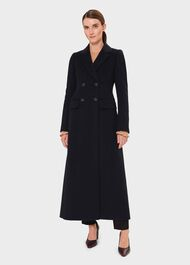 Lilie Wool Cashmere Collar Coat, Navy, hi-res