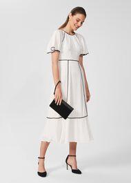 Lucilla Midi Dress, Ivory Black, hi-res