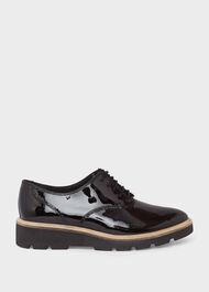 Chelsey Leather Flat Shoes, Black, hi-res