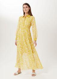 Claudine Floral Dress, Chartreuse, hi-res