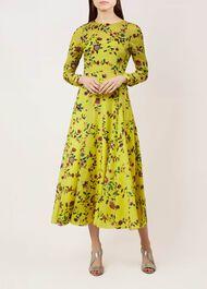 Chinoiserie Silk Dress, Yellow Multi, hi-res