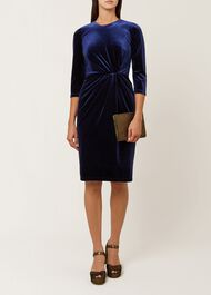 Livvy Velvet Dress, Navy, hi-res
