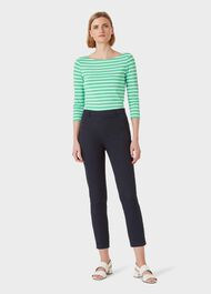Mallory Cotton Blend Capri Trousers With Stretch, Navy, hi-res