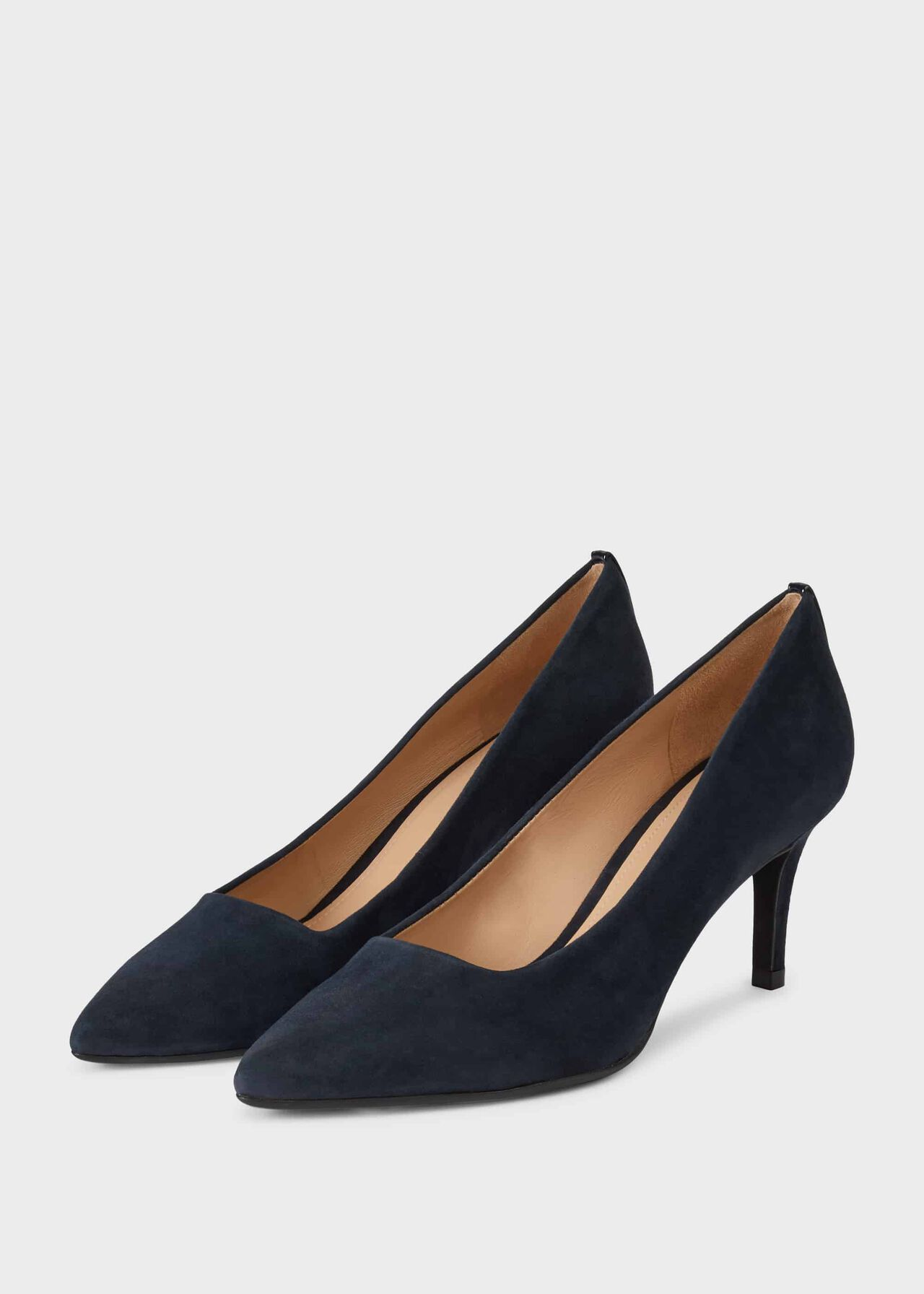 Amy Suede Stiletto Court Shoes Navy
