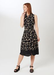 Suzanna Animal Fit And Flare Dress, Black Neutral, hi-res