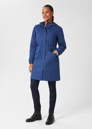 Kyra Waterproof Coat With Hood, Deep Blue, hi-res