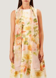 Dahlia Silk Scarf, Pink, hi-res