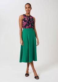 Marie Satin Midi Skirt, Field Green, hi-res