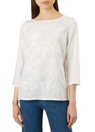 Hallie Linen Top, White, hi-res