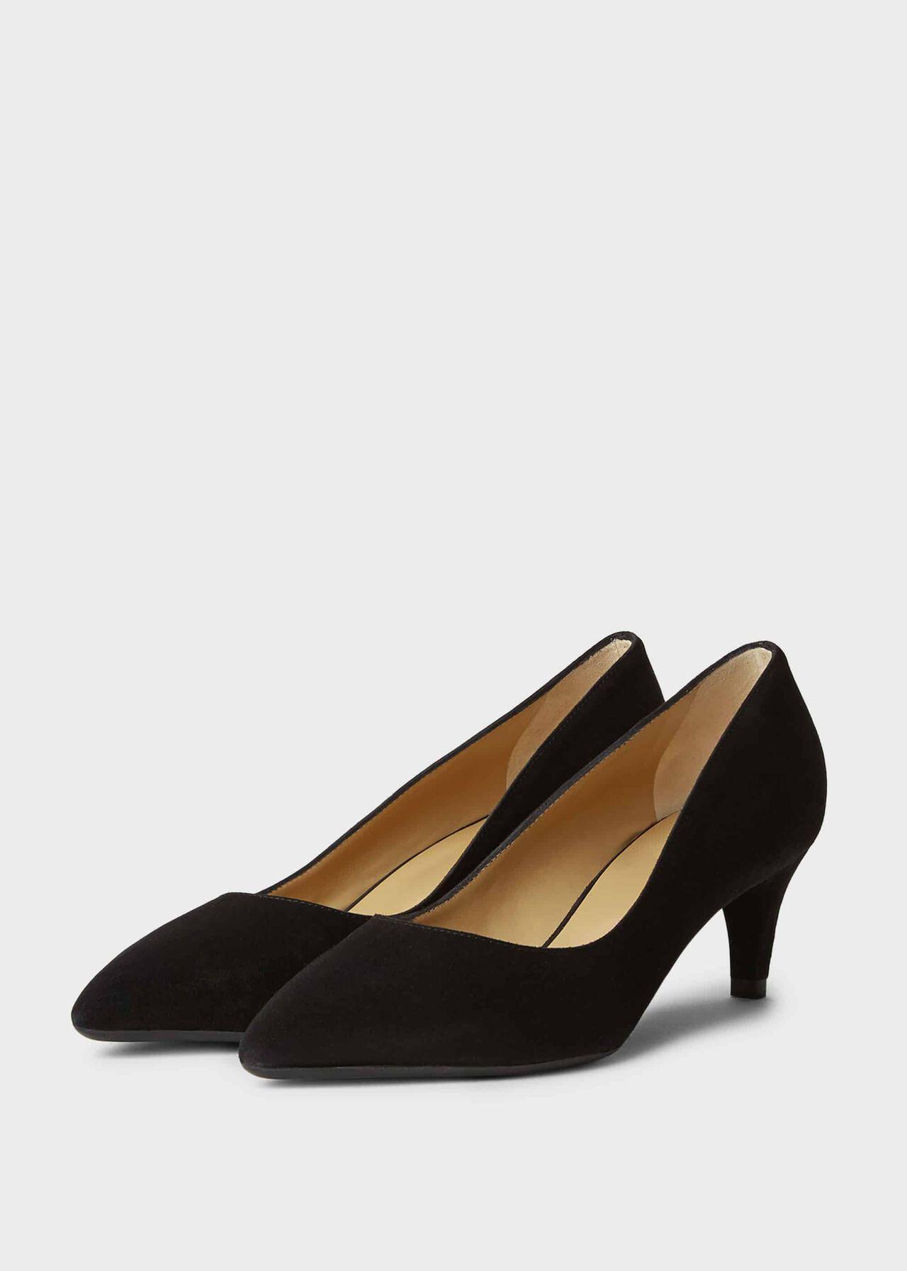 Polly Suede Kitten Heel Court Shoes Black