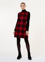 Daphne Wool Dress, Red Black, hi-res