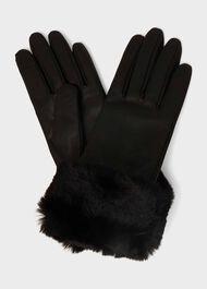 Camilla Faux Fur Glove, Black, hi-res