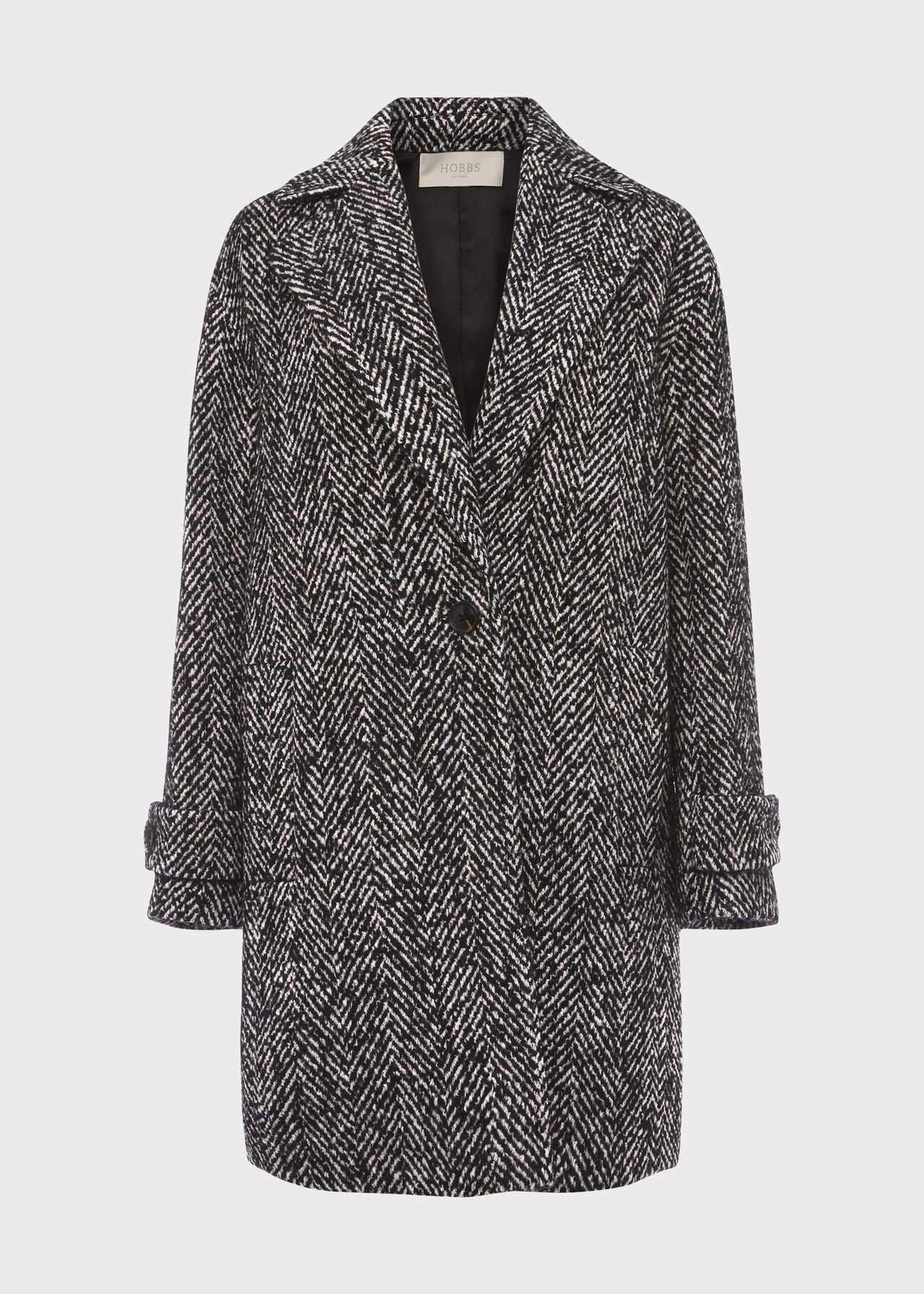 Carmen Herringbone Coat With Wool Black Ivory