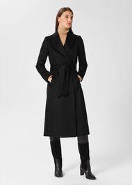 Olivia Wool Wrap Coat, Black, hi-res