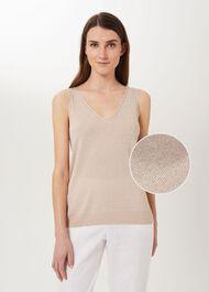 Giselle Sparkle Knitted Vest, Oyster, hi-res