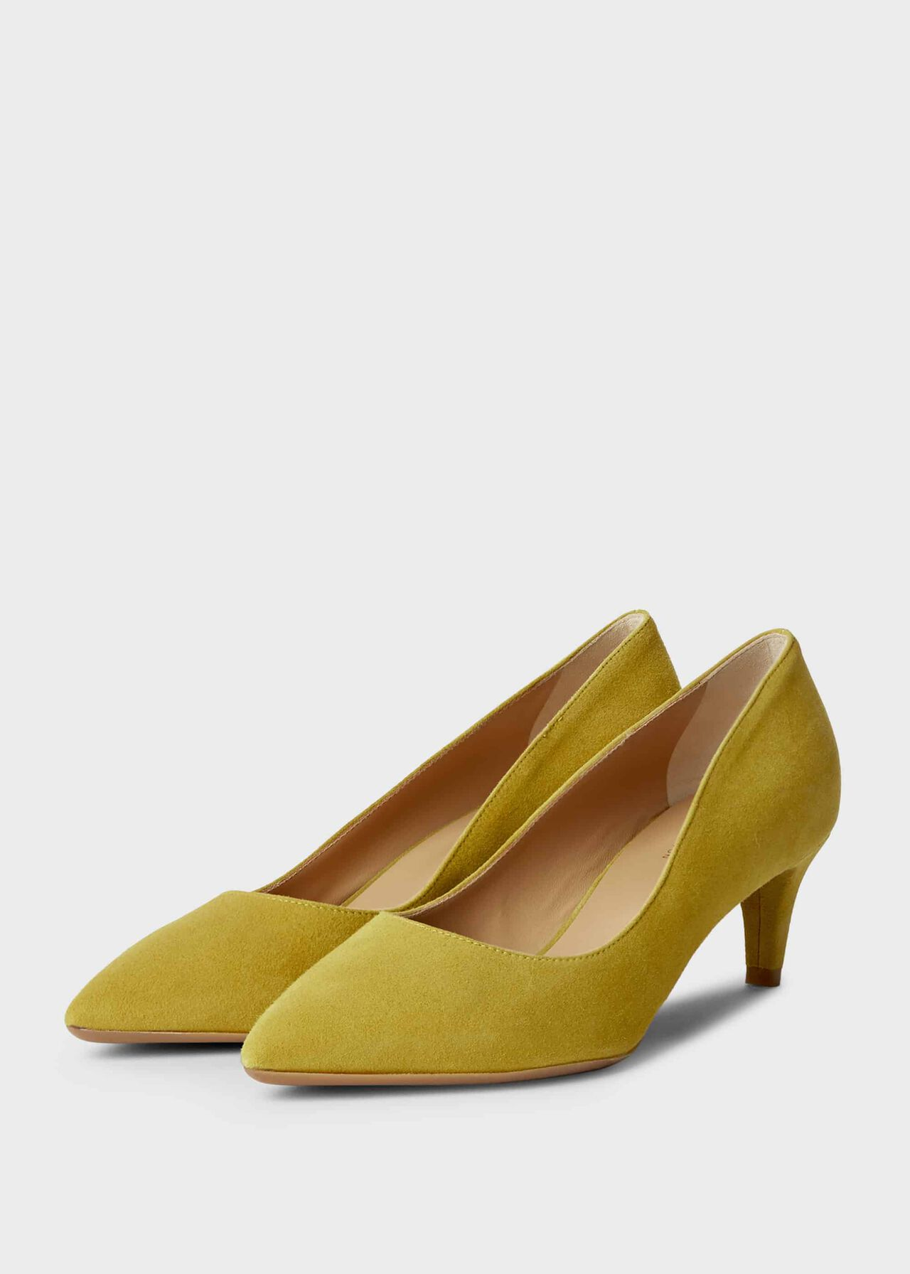 Polly Suede Kitten Heel Court Shoes Citron